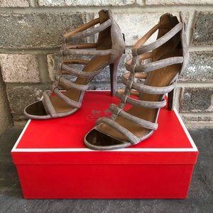 Coach Grey Solid Suede Stiletto Heels, Size 8